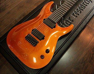 """Guitarra Schecter KM7 """"keith Merrow"""" Lambo Orange (w/case)"""