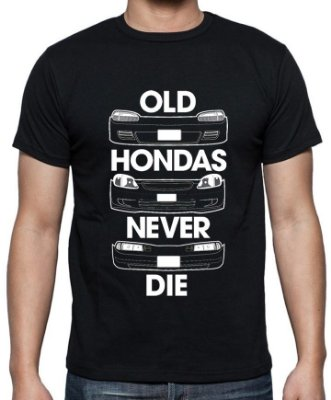 Camiseta Old Hondas never die. They just get Faster (preta)