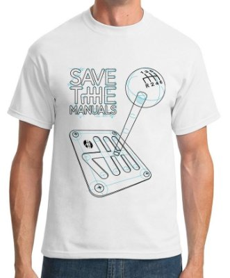 Camiseta Save the Manuals (branca) | AUTOentusiastas