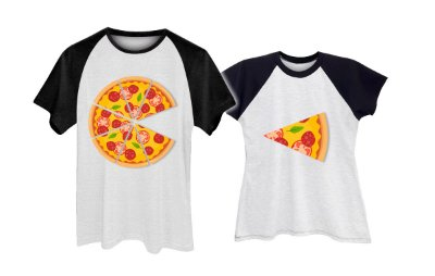 Kit Camiseta Raglan Pizza Casal Namorados Plus Size