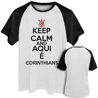 Camiseta Raglan Masculina Time Futebol Corinthians Keep Calm