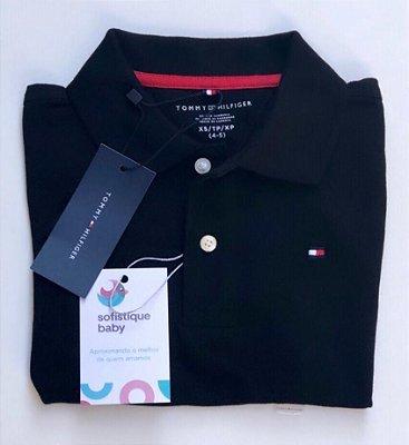 Camiseta Gola Polo Tommy Hilfiger Preta