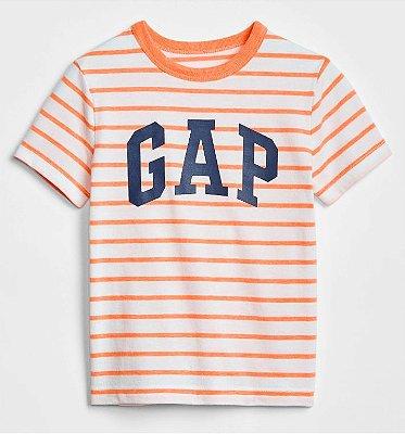 Camiseta GAP Manga Curta Laranja Listrada Masculina