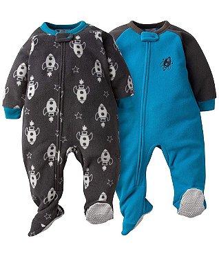 Conjunto 2 Macacões Gerber Fleece Cinza/Azul Masculino