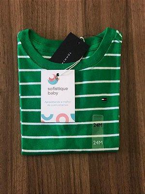 Camiseta Tommy Hilfiger Verde Listrada