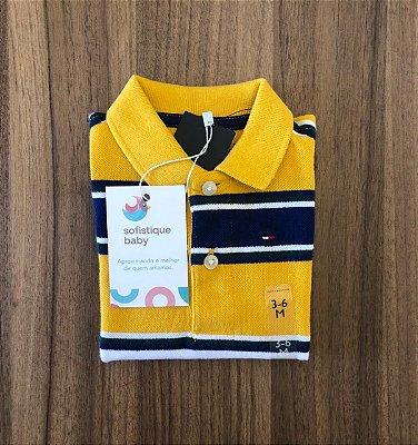 Camiseta Gola Polo Tommy Hilfiger Amarela Listrada