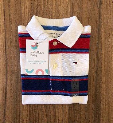 Camiseta Gola Polo Tommy Hilfiger Branca Listrada