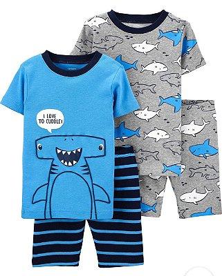 Pijama Kit 4 Peças Tubarão Masculino