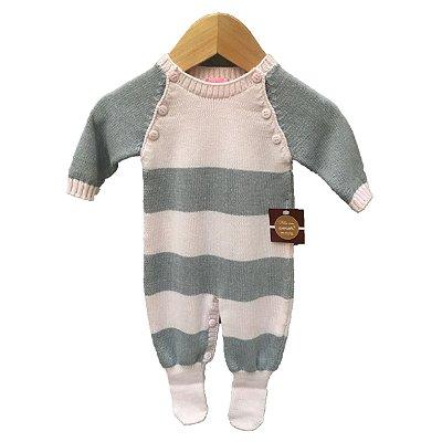 macacão tricot listras cinza e rosa