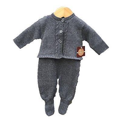 Jardineira tricot Cinza com Casaco