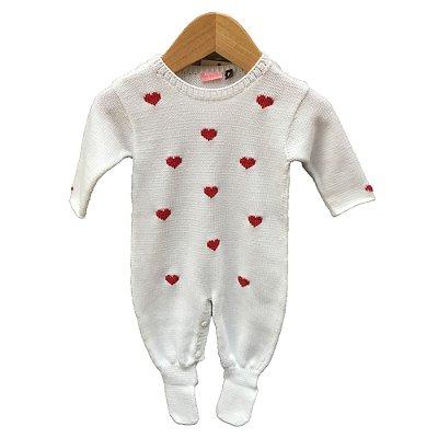 macacão tricot coração vermelho