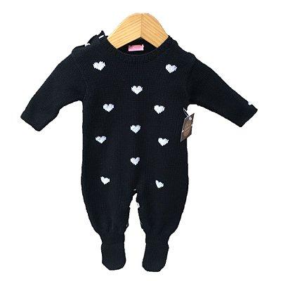 macacão tricot coração preto