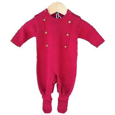 macacão tricot botão vermelho