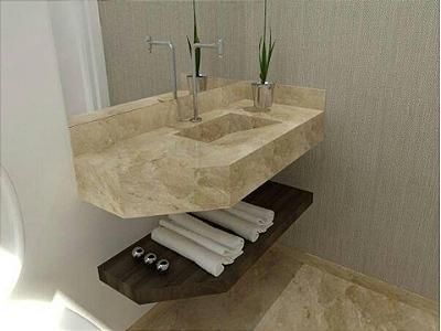 Bancada Banheiro Cuba Esculpida Marmore Travertino