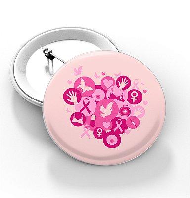 Botons Outubro Rosa - 3,8 cm - Modelo 01 - 100 Peças