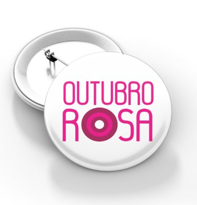 Botons Outubro Rosa - 3,8 cm - Modelo 19  - 100 Peças