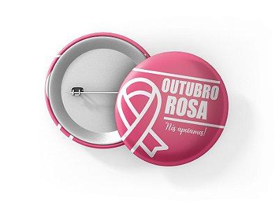 Botons Outubro Rosa - 3,8 cm - Modelo 31  - 100 Peças