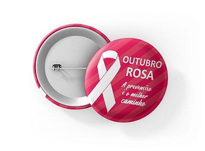 Botons Outubro Rosa - 3,8 cm - Modelo 32  - 100 Peças