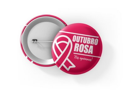 Botons Outubro Rosa - 3,8 cm - Modelo 38  - 100 Peças
