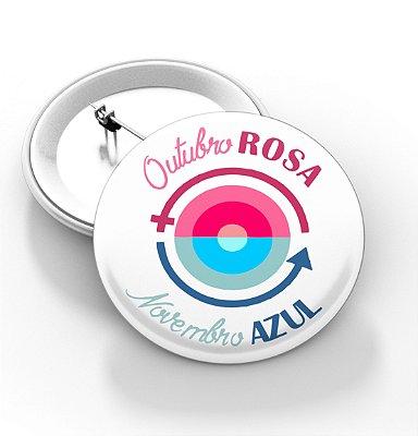 Boton outubro rosa e novembro azul - 3,8 cm - Modelo 09  - 100 Peças
