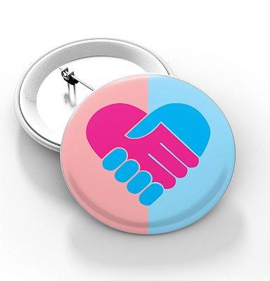 Boton outubro rosa e novembro azul - 3,8 cm - Modelo 13  - 100 Peças