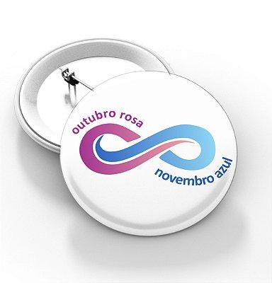 Boton outubro rosa e novembro azul - 3,8 cm - Modelo 15  - 100 Peças