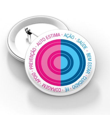 Boton outubro rosa e novembro azul - 3,8 cm - Modelo 19  - 100 Peças