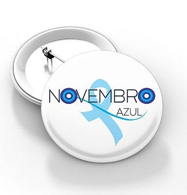 Boton Novembro azul - 3,8 cm - Modelo 12  - 100 Peças