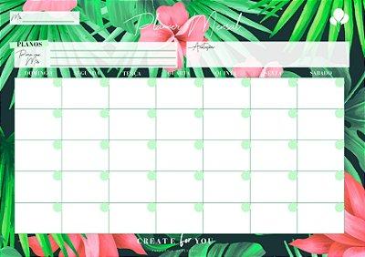 Planner Mensal - Floral Verde Rosa