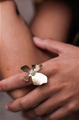 Anel Floral Dourado Fosco
