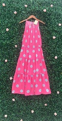 Vestido Midi Poá Rosa
