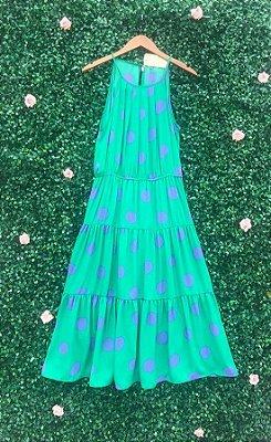 Vestido Midi Poá Verde