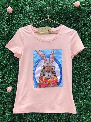 T-Shirt Coelho Rosa