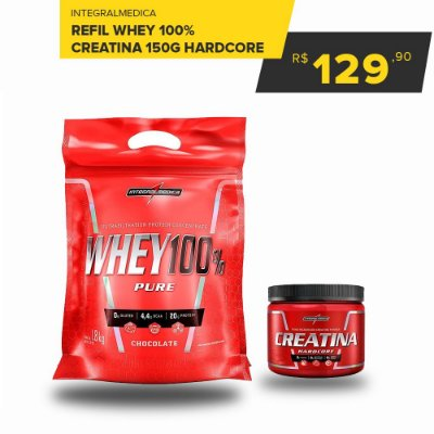Whey 100% concentrado integral - 900g - Refil + Creatina hardcore 300g integral