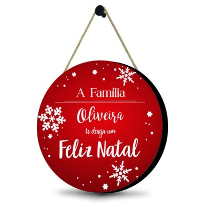 Guirlanda Natalina Vermelha - Personalizada com o nome da família MDF