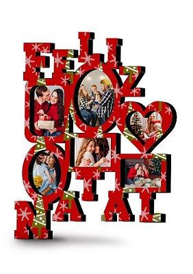 Painel de fotos Natalino Personalizado MDF (Vermelho Natal)