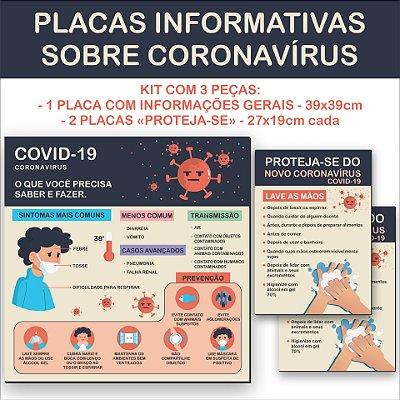 Kit 3 Placas Coronavírus - Informações gerais e Prevenção