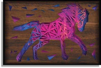 Quadro Cavalo Múltiplas Camadas para Decoração de Parede