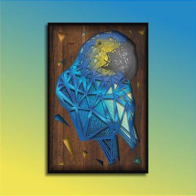 Quadro Arara Azul Múltiplas Camadas para Decoração de Parede
