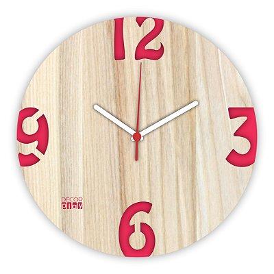 Relógio de Parede ColorClock Números VERMELHO