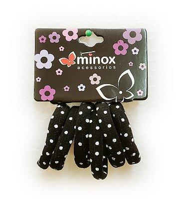Elástico de meia preto com bolinhas Minox