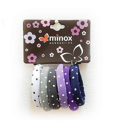 Elástico de meia roxo com bolinhas Minox