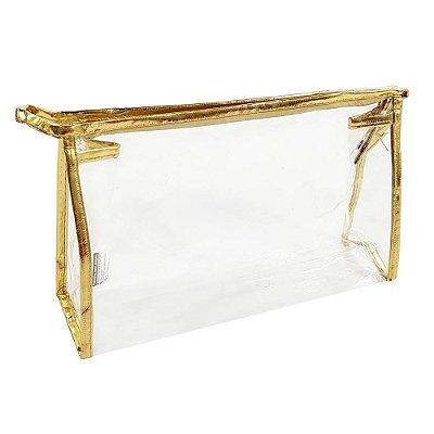 Necessaire transparente dourada