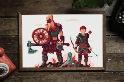 Quadro Decorativo Temático Games : God of War Kratos and Atreus