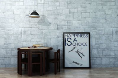 "Quadro Decorativo Motivaciona ""Happiness is a Choice"""