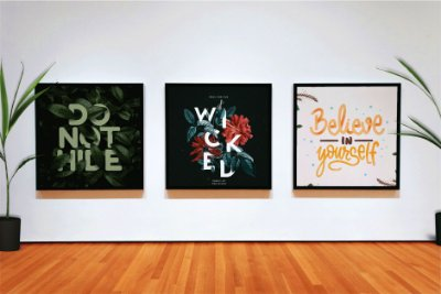 "Kit 3 Quadros Decorativos Motivacionais ""Do Not Hide"" ""Wicked"" ""Believe in Yourself"""