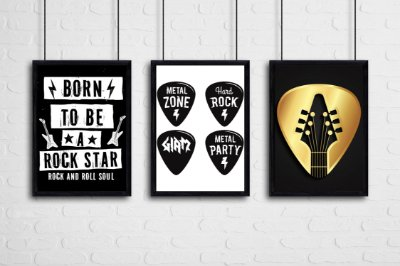 "Kit 3 Quadros Tematicos Rock ""Born To Be A Rock Star"" , ""Metal Zone"" , ""Hard Rock"" , ""Giam"" , ""Metal Party"""