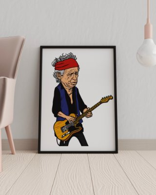 Quadro Decorativo Temático Musical Rock Caricatura Keith Richards - The Rolling Stones