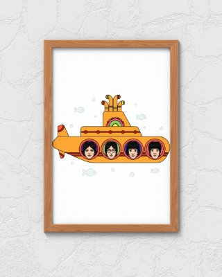 Quadro Decorativo Temático Rock Musical Yellow Submarine Album - The Beatles
