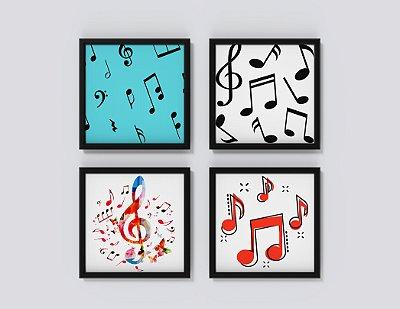 Kit 4 Quadros Decorativos Notas Musicais